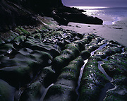 Wave-eroded rocks leading toward sun reflecting in the open Pacific Ocean, Oswald West State Park, Oregon.