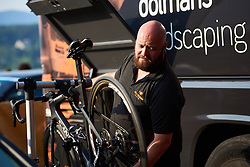 Preparing bikes before La Course by Le Tour de France 2018, a 112.5 km road race from Annecy to Le Grand Bornand, France on July 17, 2018. Photo by Sean Robinson/velofocus.com