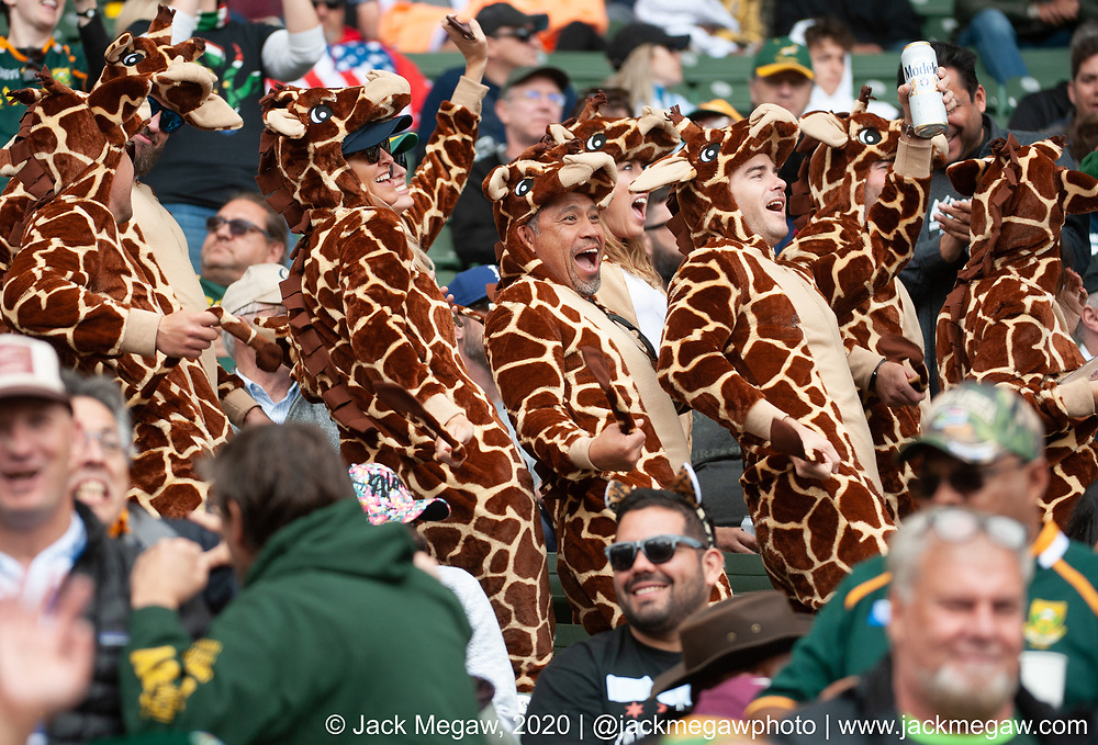 Fans in giraffe costumes watch the knockout stages of the 2020 Los Angeles Sevens at Dignity Sports Health Park in Los Angeles, California. March 1, 2019. <br /> <br /> © Jack Megaw, 2020