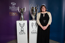 CARDIFF, WALES - Monday, December 5, 2016: Guests at the Wales Sport Awards 2016 pose with the UEFA Champions League Trophies before the ceremony at the Millennium Centre. Beverly Jones. (Pic by Ian Cook/Propaganda)