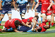 TRY Alexandre Dumoulin of Montpellier and Toby Carter Arnold of Lyon during the French championship Top 14 Rugby Union semi-final match between Montpellier v Lyon OU on May 25, 2018 at Groupama stadium in Lyon, France - Photo Romain Biard / Isports / ProSportsImages / DPPI