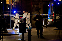 August 17, 2017 - Barcelona, Catalonia, Spain - Members of the scientific police walk by  Las Ramblas area of Barcelona where there has been a terrorist attack. Thirteen people are dead and at least 50 injured after a van rammed into the crowd of Las Ramblas  street in Barcelona. (Credit Image: © Jordi Boixareu via ZUMA Wire)
