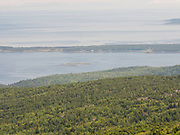 View of the Cranberry Islands from atop Cadillac Mountain, Acadia National Park, Maine, USA.