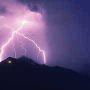 A lightning storm in the Mission Valley near Ronan, Montana during the summer.