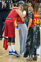 Spain's Juan Carlos Navarro with his daughter during receive the congratulations for the player with more games with the national team friendly match for the preparation for Eurobasket 2017 between Spain and Venezuela at Madrid Arena in Madrid, Spain August 15, 2017. (ALTERPHOTOS/Borja B.Hojas)