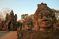 Angkor Thom Victory Gate - Angkor Thom was the last and most enduring capital city of the Khmer empire. It was established in the late twelfth century by king Jayavarman VII. It covers an area of 9 km², within which are located several monuments from earlier eras as well as those established by Jayavarman and his successors. At the centre of the city is Jayavarman's state temple, the Bayon.