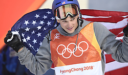 February 18, 2018 - Pyeongchang, South Korea - NICK GOEPPER of the United States celebrates after winning the silver medal at the Mens Ski Slopestyle finals Sunday, February 18, 2018 at Phoenix Snow Park at the Pyeongchang Winter Olympic Games. Goepper was silver medalist. Photo by Mark Reis, ZUMA Press/The Gazette (Credit Image: © Mark Reis via ZUMA Wire)