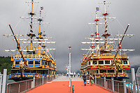 Lake Ashi Hakone Pirate Ships, have official names such as Vasa, Royal II, and Victory cruise Lake Ashi in Fuji Hakone National Park.  They are such an ubiquitous sight in Hakone, that rather than being just another kitsch attraction, they have become an integral part of the Hakone experience.