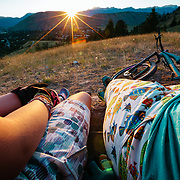 L-R Jade Goodrich talks to her mom Heather Goodrich while on a mountain bike ride in the Tetons.