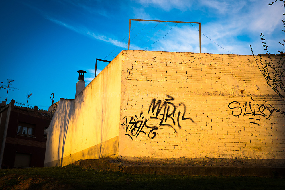 Sunset on urban wall in Sant Cugat del Valles, Barcelona