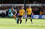 Luke O'Nien of Wycombe (l) shoots wide of goal.  EFL Skybet football league two match, Newport county v Wycombe Wanderers at Rodney Parade in Newport, South Wales on Saturday 9th September 2017.<br /> pic by Andrew Orchard, Andrew Orchard sports photography.