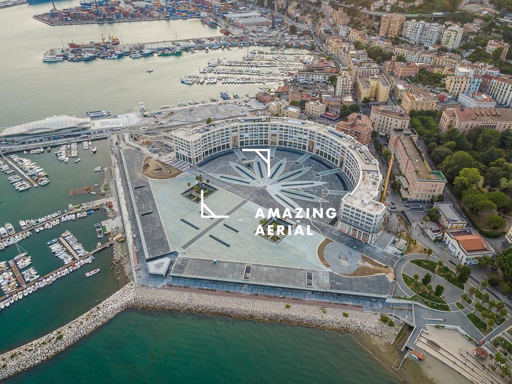 Aerial view of Liberty Square (Piazza della Libertà) in Salerno downtown, Italy.