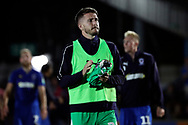 AFC Wimbledon goalkeeper Joe McDonnell (24) clapping during the EFL Carabao Cup 2nd round match between AFC Wimbledon and West Ham United at the Cherry Red Records Stadium, Kingston, England on 28 August 2018.