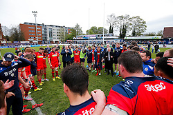 Bristol Rugby huddle after they win the match 16-45 to take a 29 point lead into the 2nd leg at Ashton Gate - Mandatory byline: Rogan Thomson/JMP - 01/05/2016 - RUGBY UNION - Goldington Road - Bedford, England - Bedford Blues v Bristol Rugby - Greene King IPA Championship Play Off Semi Final 1st Leg.