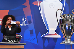 NYON, SWITZERLAND - Monday, December 17, 2018: Lyon player Laura Georges holds up Manchester United after making the draw during the UEFA Champions League 2018/19 Round of 16 draw at the UEFA House of European Football. (Handout by UEFA)