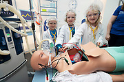 24/11/2019 repro free: Elianna Murphy with Katie Keane Salthill  and Ayla Murphy  from Bushypark Galway at the Medtronic Junior Hospital on the last day of the Galway Science and Technology Festival  at NUI Galway where over 20,000 people attended exhibition stands  from schools to Multinational Companies . Photo:Andrew Downes, xposure