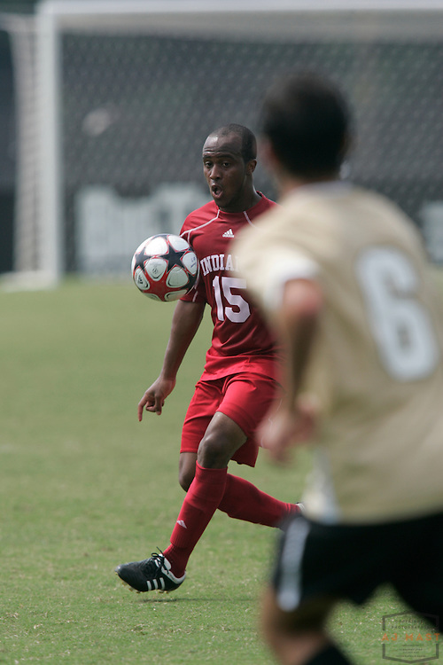 06 September 2009: Indiana's Cameron Jordan as the Indiana Hoosiers played the Wake Forest Demon Deacons in a college soccer game in Bloomington, Ind.