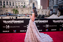 Laura Haddock watches a passing barge at the US Premier of 'Transformers: The Last Knight' on the Chicago River in front of the Civic Opera House on Tuesday June 20, 2017 in Chicago, IL. Photo: Christopher Dilts / Sipa USA *** Please Use Credit from Credit Field ***