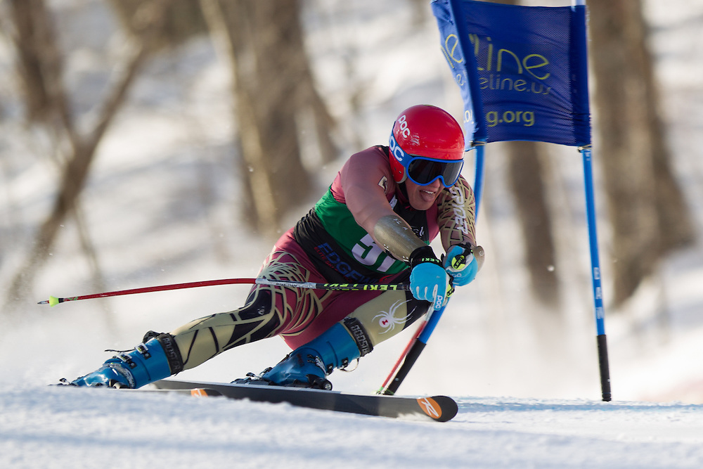 Chase Ryan of Boston College, skis during the first run of the men's giant slalom at the Dartmouth Carnival at Dartmouth Skiway on February 7, 2014 in Lyme, NH. (Dustin Satloff/EISA)
