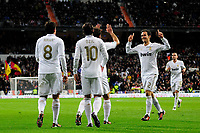 20120128: MADRID, SPAIN - Santiago bernabeu Stadium. Madrid. Spain. Football match between Real Madrid CF and  Real Zaragoza. BBVA League. In picture Ricardo Carvalho celebrates goal<br /> PHOTO: CITYFILES