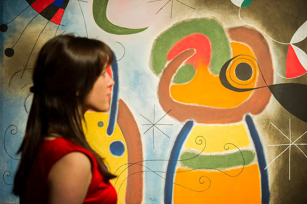 Joan Miró's L'oiseau au plumage déployé vole vers l'arbre argenté, 1953 - Christie's Impressionist, Modern and Surrealist Art pre-sale exhibition ahead of the Evening sale on 4 February. Highlights include: Cézanne's Vue sur L'Estaque et Le Château d'If, from the collection of Samuel Courtauld, which is coming to the market for the first time since it was acquired 79 years ago, in 1936 (estimate: £8-12 million); The most valuable group of Surrealist art ever to be offered at auction, featuring a group of works by Magritte and Miró, led by Joan Miró's L'oiseau au plumage déployé vole vers l'arbre argenté, 1953, from a Distinguished European Collection (estimate: £7-9 million); Amedeo Modigliani's rare double portrait Les deux filles, 1918 (estimate: £6-8 million); Femme de Venise V by Alberto Giacometti (estimate: £6-8 million); Juan Gris's La Lampe, 1914, which is considered to be among the artist's greatest contributions to Cubism (estimate: £2.5-3.5 million); Paysage à L'Estaque, 1907, by Georges Braque (estimate: £2-3 million); An important group of German works from the collection of industrial chemist Carl Hagemann, representing three of the four founding artists of the Die Brücke movement, led by one of the masterpieces of Die Brücke art: Badende am Waldteich by Erich Heckel, along with key works by Ernst Ludwig Kirchner and Karl Schmidt-Rottluff; and other important works by Chagall, Moore, Picabia, Arp, Ernst, Tanguy and Dominguez. The auction has a total pre-sale estimate of £92.8 million-£133.8 million. Christie's, King Street, London, UK.
