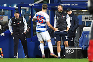 GOAL QPR Forward Charlie Austin(45) scores a goal 2-1 and celebrates  during the EFL Sky Bet Championship match between Queens Park Rangers and Brentford at the Kiyan Prince Foundation Stadium, London, England on 17 February 2021.