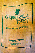 Coffee beans in a burlap sack at Greenwell Farms, Kona Coast, The Big Island, Hawaii USA