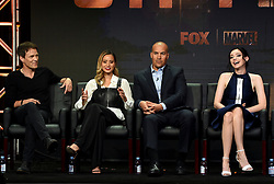 BEVERLY HILLS - AUGUST 8: Cast members Stephen Moyer, Jamie Chung, Coby Bell and Emma Dumont onstage during the panel for 'The Gifted' at the FOX portion of the 2017 Summer TCA press tour at the Beverly Hilton on August 8, 2017 in Beverly Hills, California. (Photo by Frank Micelotta/Fox/PictureGroup) *** Please Use Credit from Credit Field ***