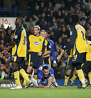 Photo: Lee Earle.<br /> Chelsea v Wigan Athletic. The Barclays Premiership.<br /> 10/12/2005. John Terry looks up in delight after putting Chelsea ahead.