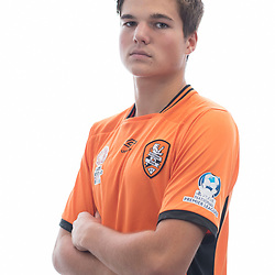 BRISBANE, AUSTRALIA - MARCH 17: Callum Harris poses for a photo during the Brisbane Roar Youth headshot session at QUT Kelvin Grove on March 17, 2017 in Brisbane, Australia. (Photo by Patrick Kearney/Brisbane Roar)