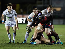 Dragons' Dan Babos gets the ball away<br /> <br /> Photographer Simon King/Replay Images<br /> <br /> Guinness PRO14 Round 14 - Dragons v Glasgow Warriors - Friday 9th February 2018 - Rodney Parade - Newport<br /> <br /> World Copyright © Replay Images . All rights reserved. info@replayimages.co.uk - http://replayimages.co.uk