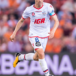 BRISBANE, AUSTRALIA - OCTOBER 13: Isaias of Adelaide dribbles the ball during the Round 2 Hyundai A-League match between Brisbane Roar and Adelaide United on October 13, 2017 in Brisbane, Australia. (Photo by Patrick Kearney)