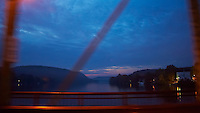 Crossing the Delaware on the Lambertville - New Hope Bridge. Pre-Dawn New Jersey and Pennsylvania. Image taken with a Nikon D700 and 28-300 mm VR lens (ISO 6400, 28 mm, f/3.5, 1/25 sec).