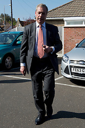 © Licensed to London News Pictures. 23/04/2015. <br /> KENT, UK. UKIP leader Nigel Farage arrives at the Northwood Club in Ramsgate, Kent, to celebrate St George's Day with veterans, Thursday 23 April 2015. Photo credit : Hannah McKay/LNP