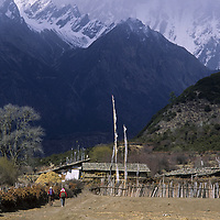 TIBET, Tsangpo Gorge, Village near Pe, at upper end of one of earth's deeper gorges.