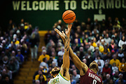 Vermont forward Anthony Lamb (3) and Harvard's Chris Lewis (0) battle for the opening tip off during the men's basketball between the Harvard Crimson and the Vermont Catamounts at Patrick Gym on Saturday night December 8, 2018 in Burlington. (BRIAN JENKINS/for the FRESS PRESS)