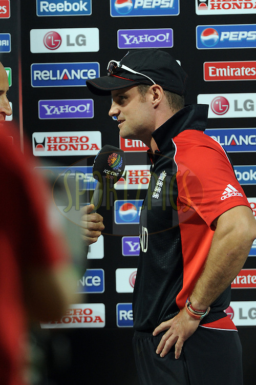 Andrew Strauss captain of England during the presentation after the ICC Cricket World Cup match between India and England held at the M Chinnaswamy Stadium in Bengaluru, Bangalore, Karnataka, India on the 27th February 2011..Photo by Pal Pillai/BCCI/SPORTZPICS