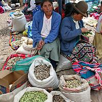 Americas, South America, Peru, Pisac. Vendor at Pisac Market.