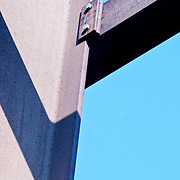 section of steel girder on built structure with blue sky background