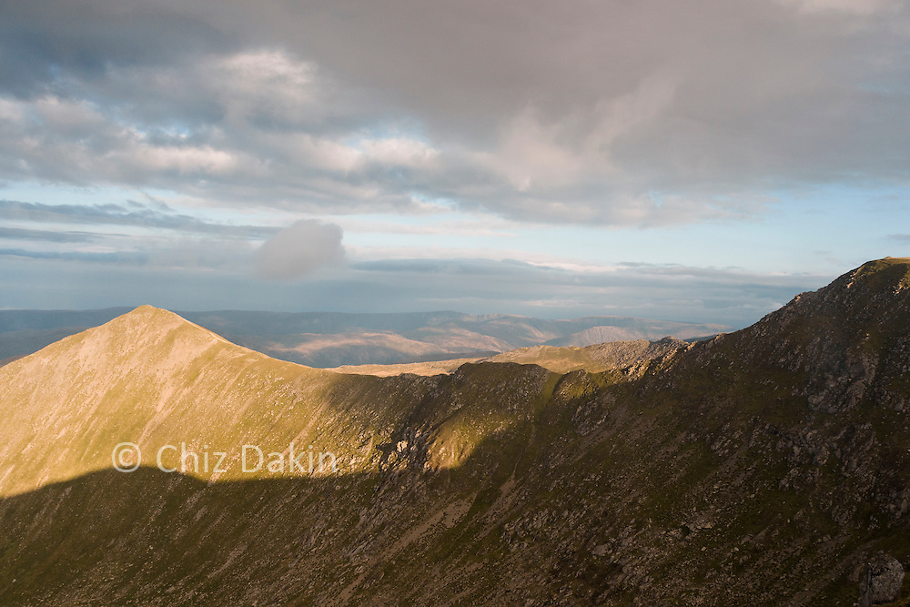 Swirral Edge, looking sharp in the afternoon sun, from the N Ridge of Helvellyn