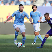 NEW YORK, NEW YORK - May 29:  Frank Lampard #8, Andrea Pirlo #21 and David Villa #7 of New York City FC in action during the New York City FC Vs Orlando City, MSL regular season football match at Yankee Stadium, The Bronx, May 29, 2016 in New York City. (Photo by Tim Clayton/Corbis via Getty Images)