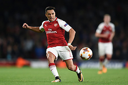 Alexis Sanchez of Arsenal boots the ball - Mandatory by-line: Patrick Khachfe/JMP - 14/09/2017 - FOOTBALL - Emirates Stadium - London, England - Arsenal v Cologne - UEFA Europa League Group stage