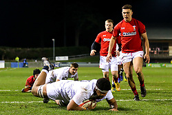 Rusiate Tuima of England U20 scores a try - Mandatory by-line: Robbie Stephenson/JMP - 22/02/2019 - RUGBY - Zip World Stadium - Colwyn Bay, Wales - Wales U20 v England U20 - Under-20 Six Nations