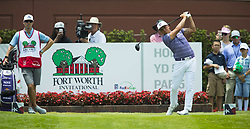 May 25, 2018 - Fort Worth, TX, USA - FORT WORTH, TX - MAY 25, 2018 - Rickie Fowler tees off on the first hole during the second round of the 2018 Fort Worth Invitational PGA at Colonial Country Club in Fort Worth, Texas (Credit Image: © Erich Schlegel via ZUMA Wire)