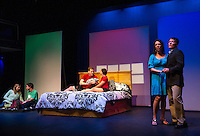 """Teghan Kelly and Evan Clinton as Lizzie and Danny, Daniel Adams and Amelia Hamilton-Miller as Nick and Pam and Rodney Martell and Tamara McGonagle as Alan and Arlene take the stage during dress rehearsal for """"Baby"""" the musical at the Winnipesaukee Playhouse Monday evening.  (Karen Bobotas/for the Laconia Daily Sun)"""