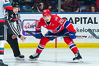 KELOWNA, BC - JANUARY 31: Jack Finley #26 of the Spokane Chiefs lines up for the face-off against the Kelowna Rockets at Prospera Place on January 31, 2020 in Kelowna, Canada. (Photo by Marissa Baecker/Shoot the Breeze)