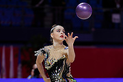 Magopoulo Ioanna from Greece competes during the qualification for the Individual Rhythmic Gymnastics World Cup at Vitrifrigo Arena on May 28-29, 2021, in Pesaro, Italy. She was born in Thessaloniki in 2003.