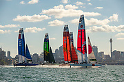 SailGP Japan Team lead off the start of race two on day one of competition. Event 1 Season 1 SailGP event in Sydney Harbour, Sydney, Australia. 15 February 2019. Photo: Chris Cameron for SailGP. Handout image supplied by SailGP