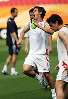 Photo: Chris Ratcliffe.<br /> England Training Session. FIFA World Cup 2006. 14/06/2006.<br /> Gary Neville gets injured during training and could be out for a while.