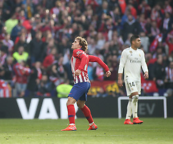 February 9, 2019 - Madrid, Spain - Antoine Griezmann of Atletico Madrid celebrates after scoring his team's first goal during the La Liga match between Club Atletico de Madrid and Real Madrid CF at Wanda Metropolitano on February 09, 2019 in Madrid, Spain. (Credit Image: © Raddad Jebarah/NurPhoto via ZUMA Press)